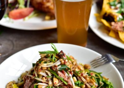 Asian style beef salad with beer
